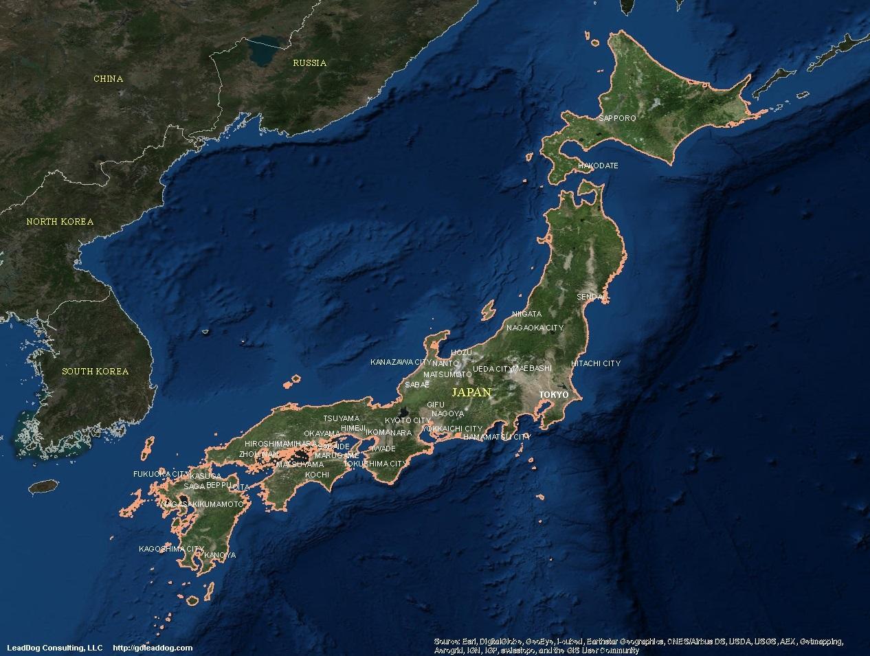 Japan satellite map - Satellite map of japan (Eastern Asia