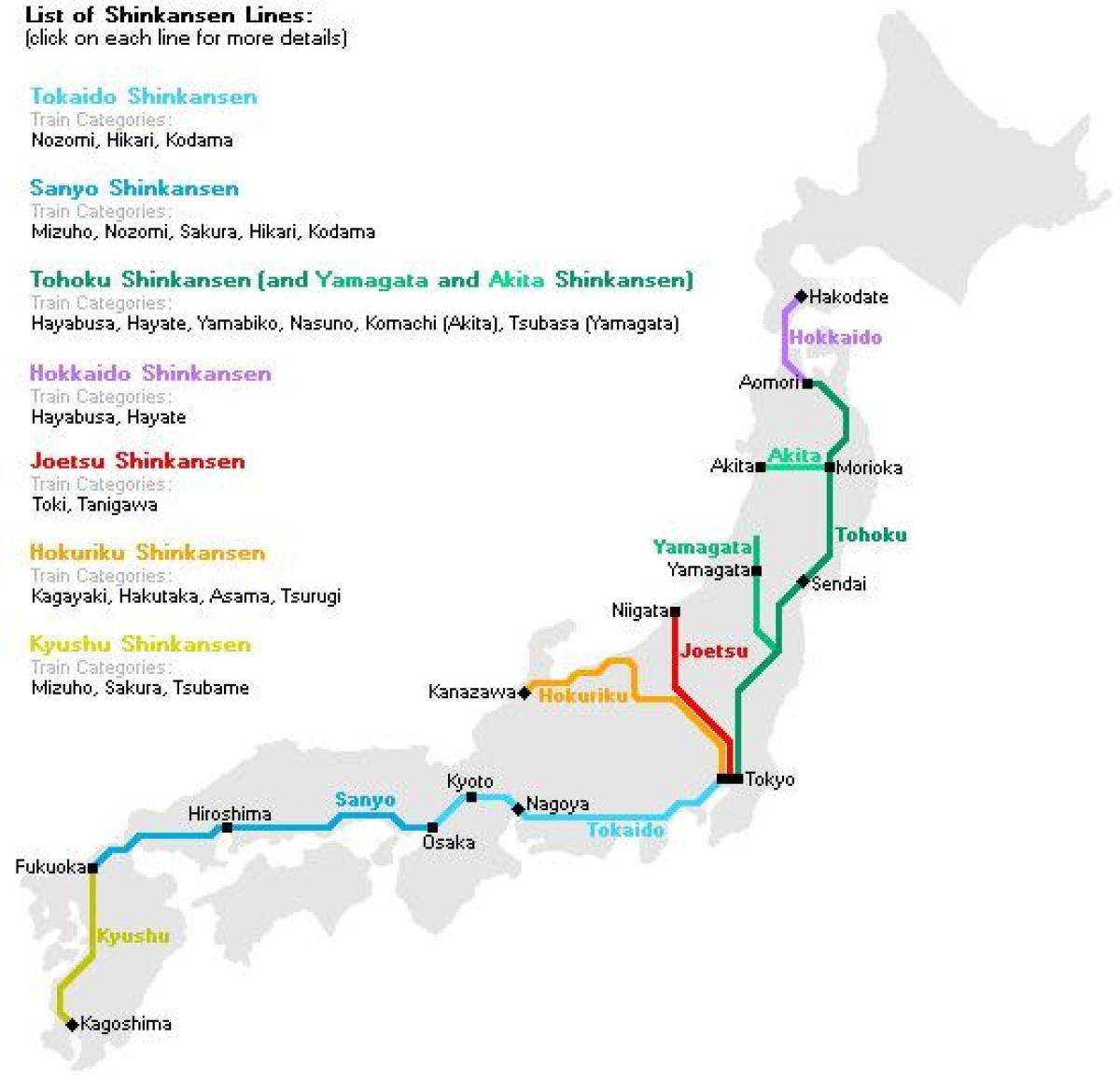 Bullet Train Japan Map Japanese Bullet Train Map Eastern Asia - Joetsu map