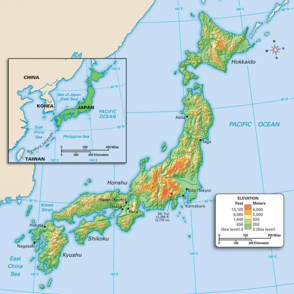 Japan geography map - Geography of japan map (Eastern Asia - Asia)