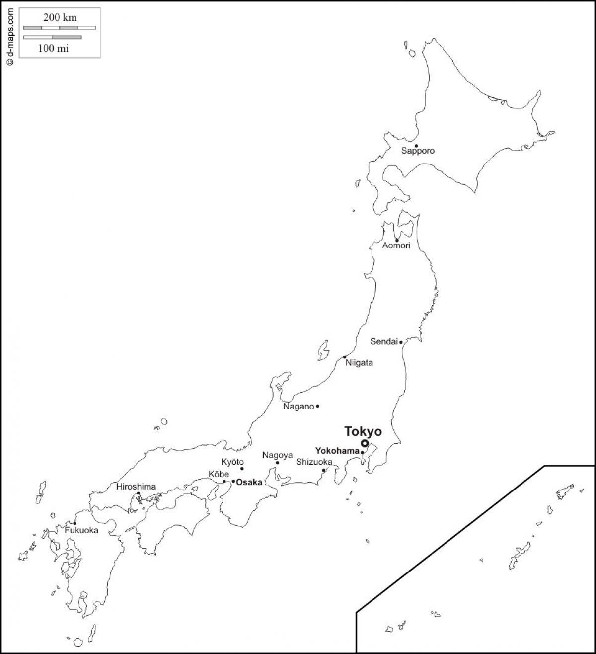 Japan map outline with cities - Outline map of japan with cities ...