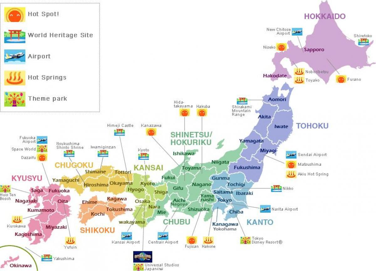 Japan map tourist - Map of japan for tourist (Eastern Asia - Asia)