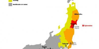 Map of japan tsunami